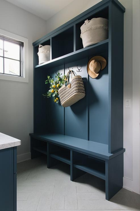 Sky Blue Mudroom Lockers With Overhead Cabinets Transitional Laundry Room