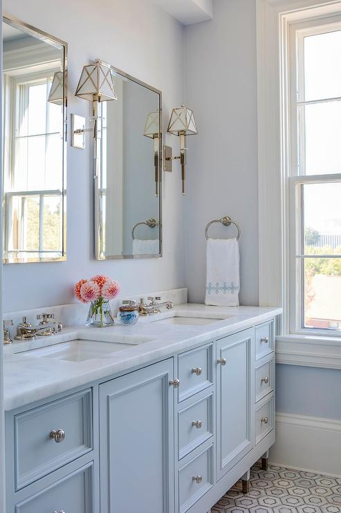 Light Blue Washstand With His And Hers Sinks Transitional Bathroom