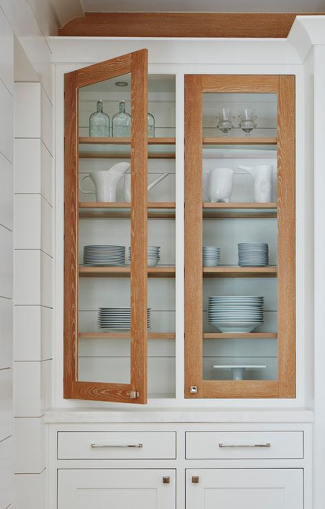Stained Oak Door Frames On White Kitchen Cabinets Cottage Kitchen