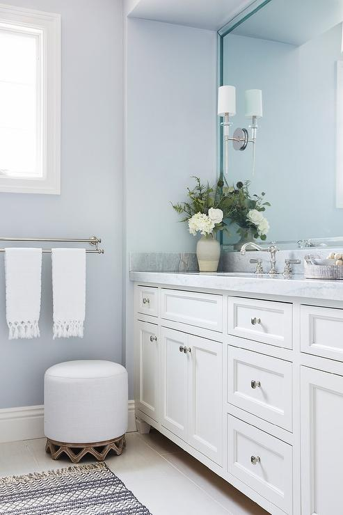 White And Blue Bathroom With Light Gray Wood Like Floor Tiles - Transitional - Bathroom