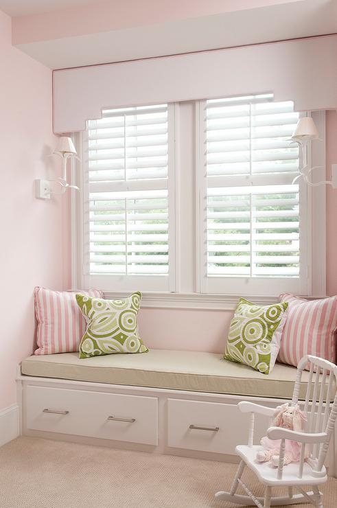 Peachy Built In Window Seat With Pink And Green Pillows Ibusinesslaw Wood Chair Design Ideas Ibusinesslaworg
