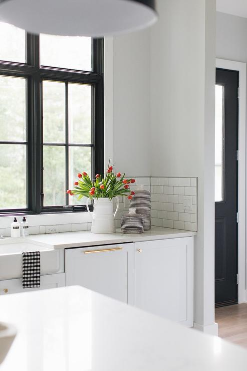 Black Window Frames In White Kitchen Transitional Kitchen