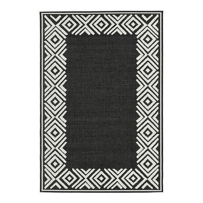 Nayla Geometric Black White Border Indoor Outdoor Rug