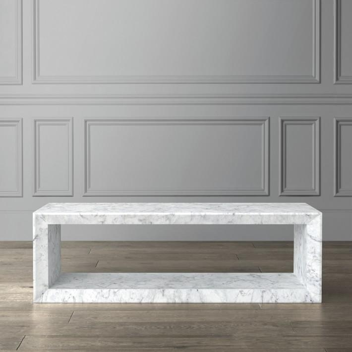 Rectangular Lacquer White Metal Coffee Table