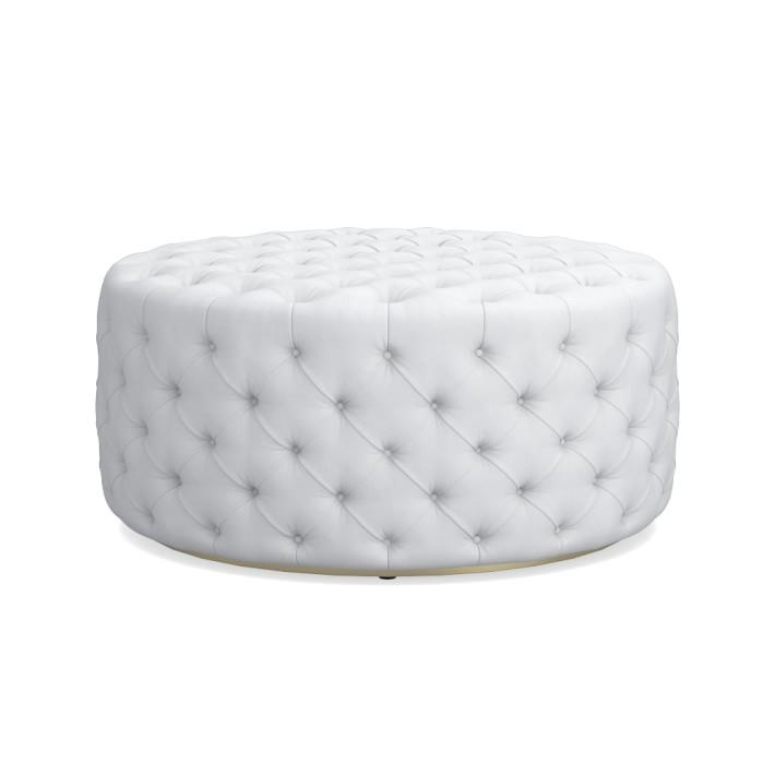 Strange Round Large White Leather Deep Tufted Ottoman Gmtry Best Dining Table And Chair Ideas Images Gmtryco