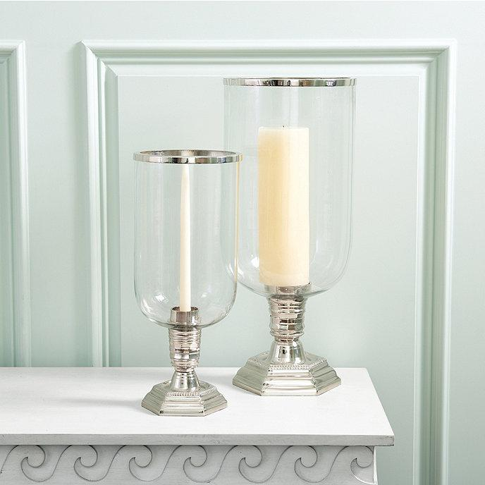 Grand Glass Silver Metal Hurricane Candle Holder