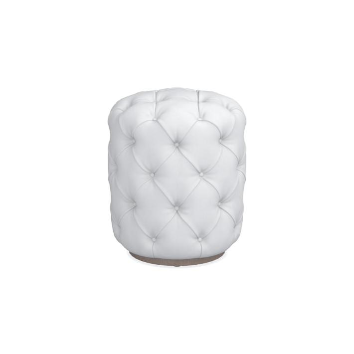 Awe Inspiring Round Small White Leather Deep Tufted Ottoman Inzonedesignstudio Interior Chair Design Inzonedesignstudiocom