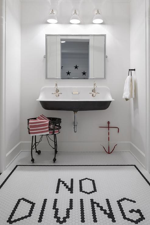 Washstand Under Shiplap Sloped Ceiling Cottage Bathroom