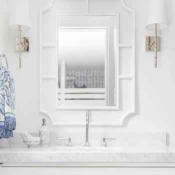 Two White Faux Bamboo Mirrors With Ivory Washstand
