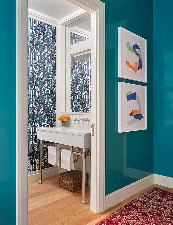 Peacock Blue Powder Room With Brass Washstand