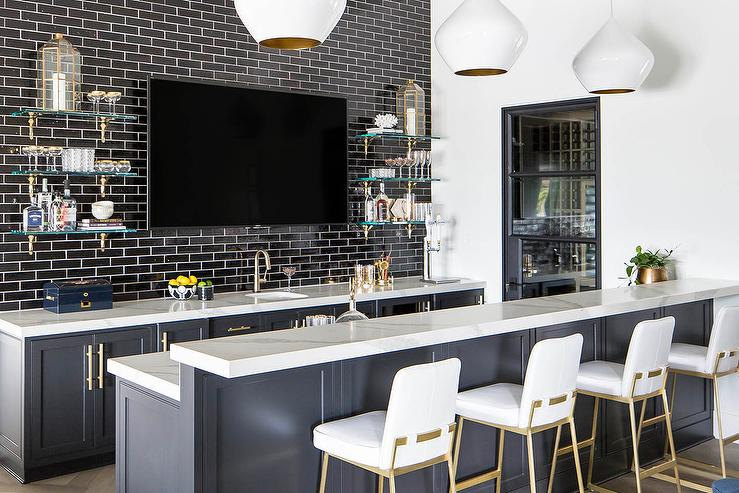 Fantastic Dark Gray Wet Bar With Black Staggered Tiles Transitional Gmtry Best Dining Table And Chair Ideas Images Gmtryco