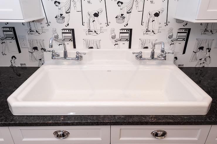 Vintage Style Laundry Room With Black And White Vintage