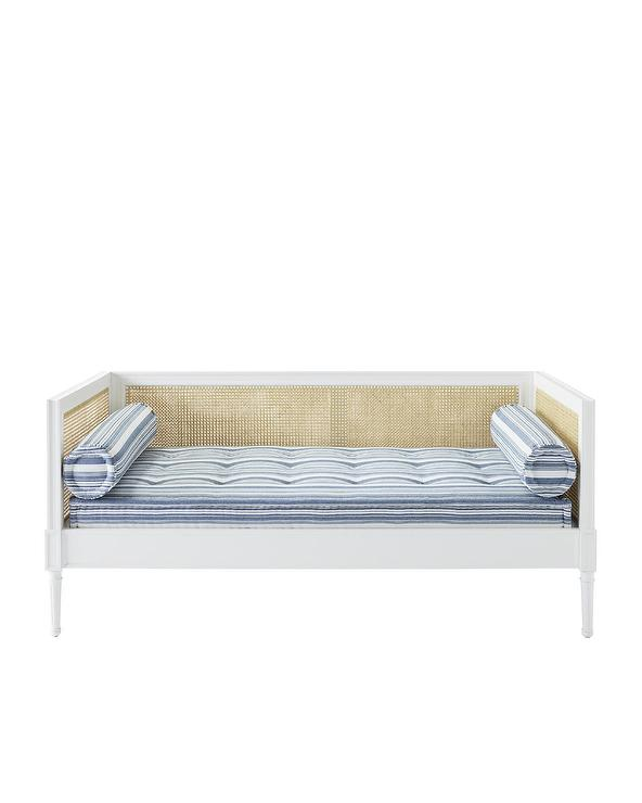 Marvelous Harbour Cane Back White Wood Blue Striped Daybed Cjindustries Chair Design For Home Cjindustriesco