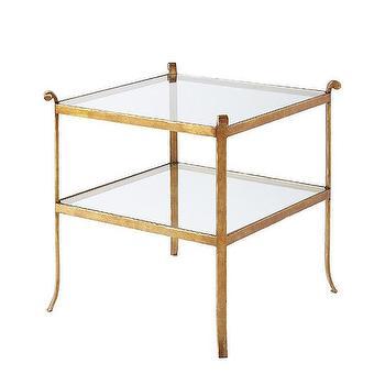 Shiloh Gold Iron Greek Key Side Table