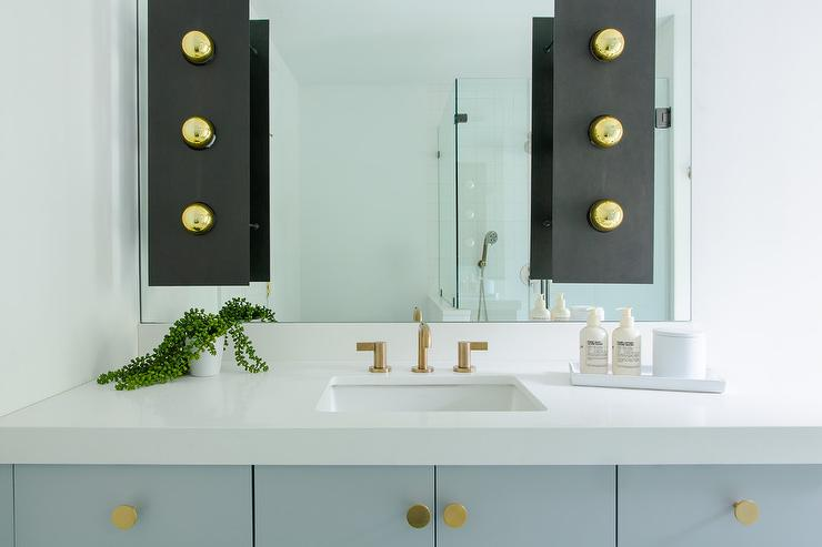 Gray Bath Vanity With Gold Knobs Contemporary Bathroom