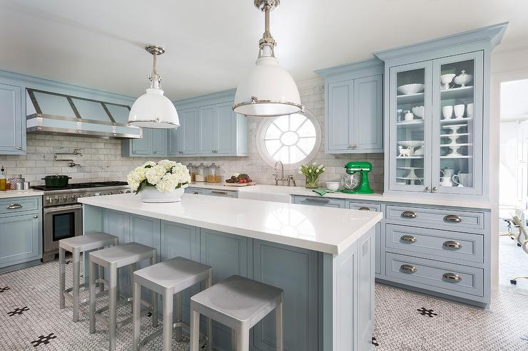 Sky Blue Kitchen Island with White Industrial Pendant Lights ...