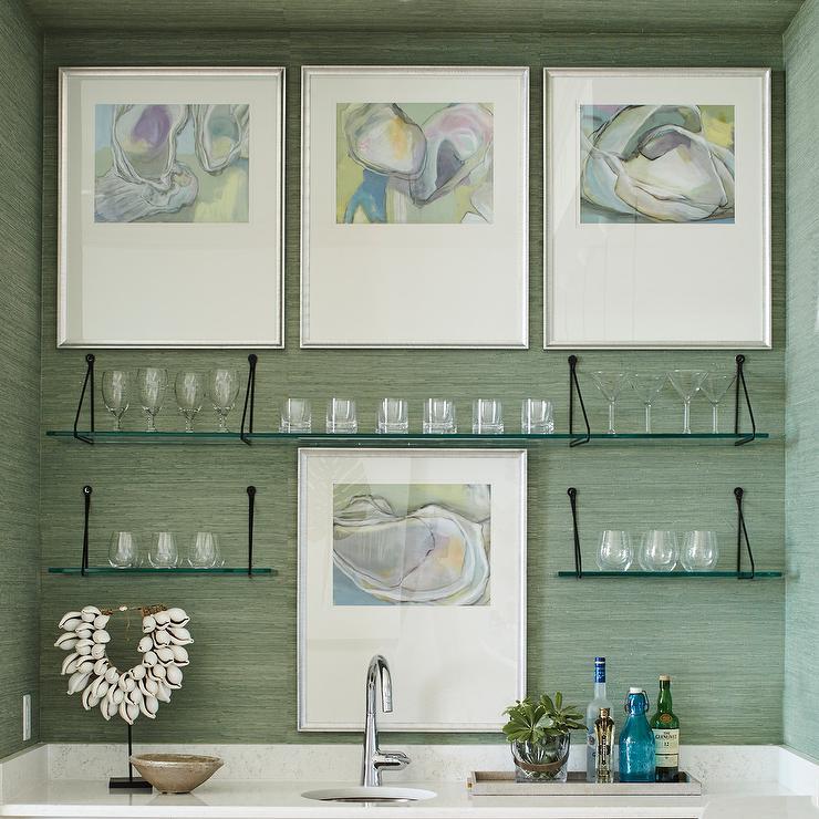 Beach House Wet Bar With Green Grasscloth Wallpaper