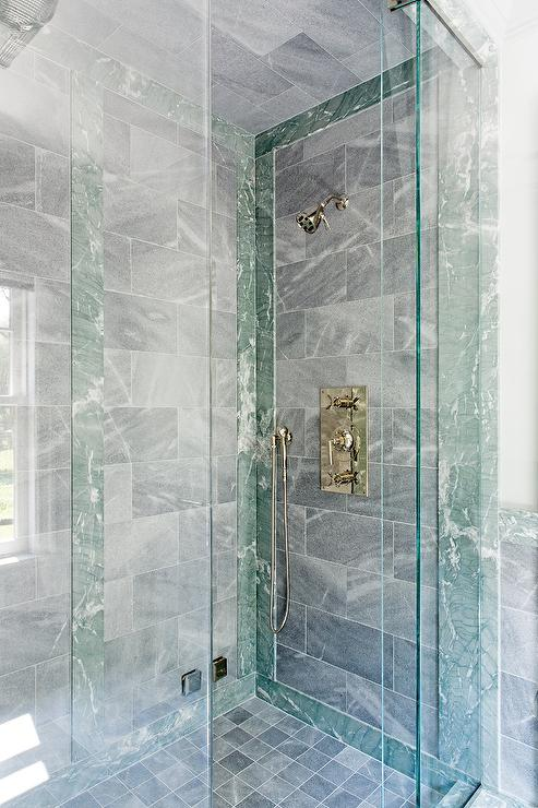 Gray Stone Shower Tiles With Green Marble Border Tiles - Transitional -  Bathroom