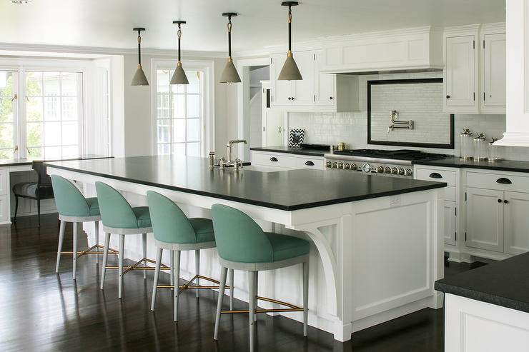 Green fabric Stools at Large Kitchen Island - Transitional ...