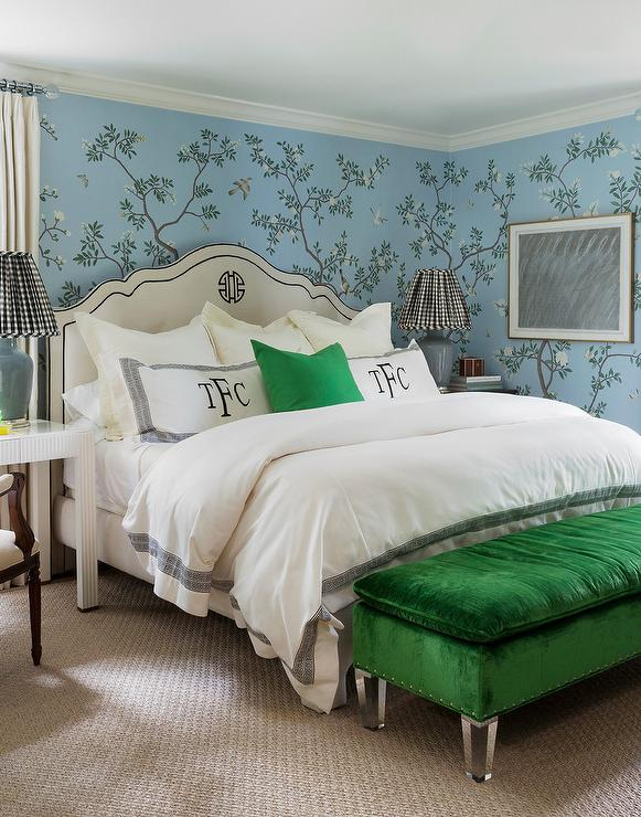 Ivory French Bed On Blue Floral Wallpaper Contemporary Bedroom