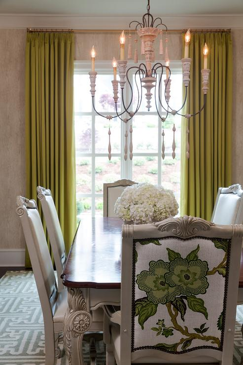 Gray French Dining Chairs With Green Floral Back Panels Transitional Dining Room