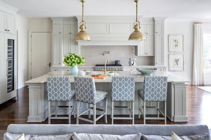 Strange Light Gray Kitchen Island With Blue Upholstered Counter Pdpeps Interior Chair Design Pdpepsorg