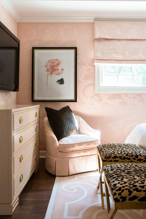 Pink Bedroom with Pink Corner Chair - Transitional - Bedroom