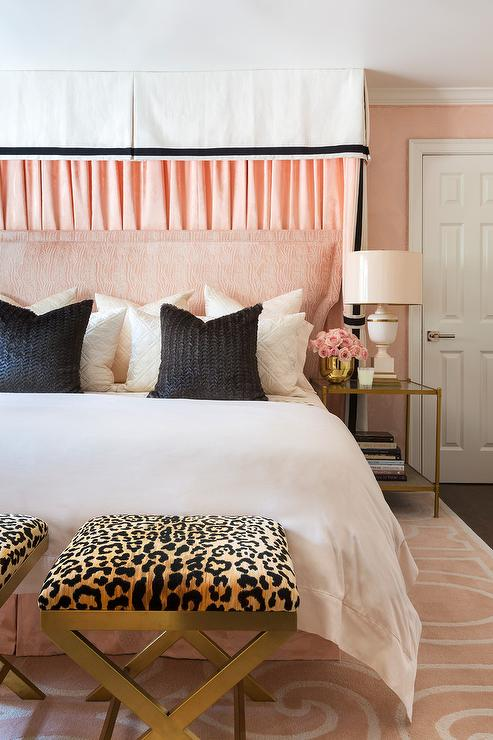 Pink Bedroom With Cheetah Print X Stools Transitional Bedroom
