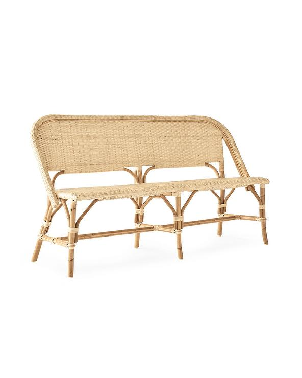 Riviera Rounded Natural Woven Rattan Bench