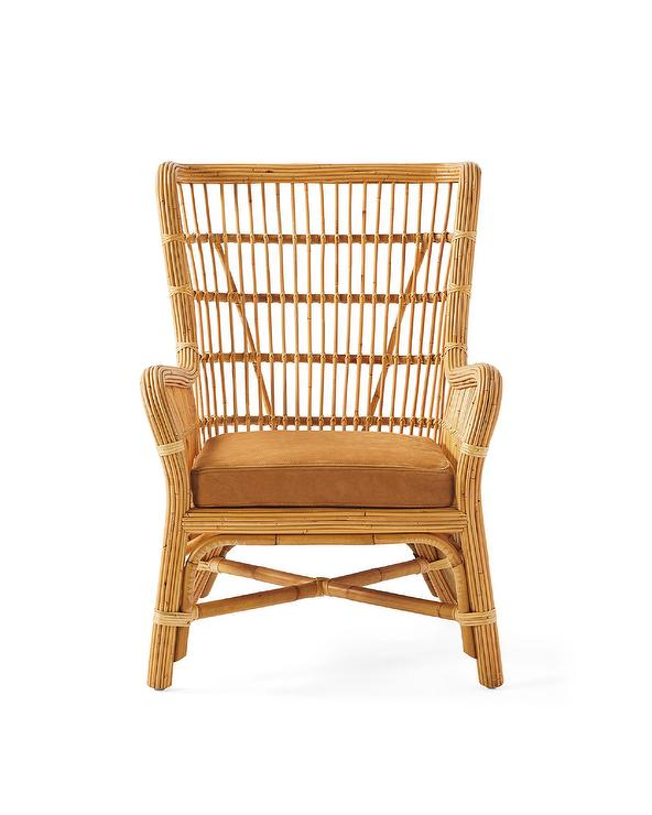 Magnificent Bodega Bay Natural Rattan Leather Cushion Wing Chair Evergreenethics Interior Chair Design Evergreenethicsorg