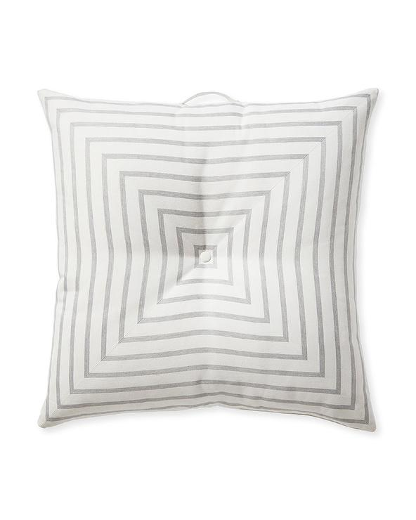 Harbour Island Square Gray White Striped Floor Pillow