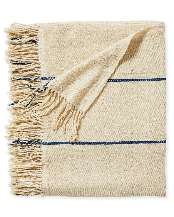 Lombard Woven Raw Silk Striped Fringe Throw
