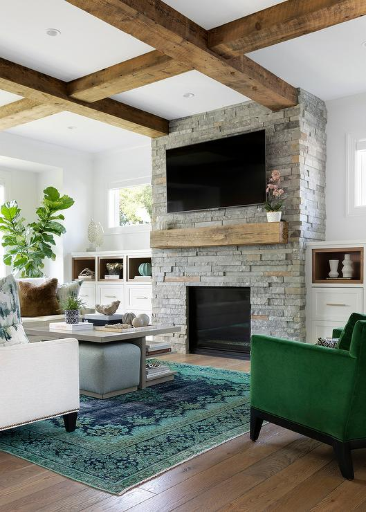 Fireplace Tv Niche With Gray Built In Shelves