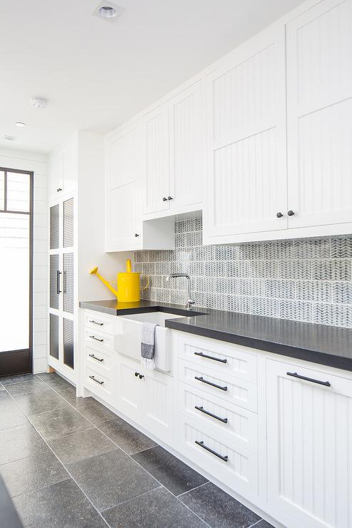 White Beadboard Kitchen Cabinet Doors Long Laundry Room with Beadboard CabiDoors   Transitional