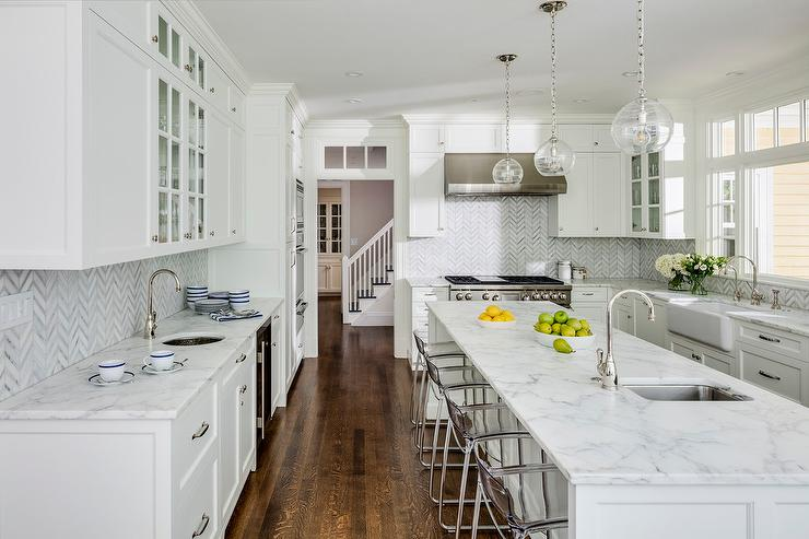 Clear Stools At Honed White And Gray Marble Top Island Transitional Kitchen