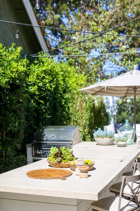 Concrete Top On Outdoor Shiplap Kitchen Island Transitional Kitchen