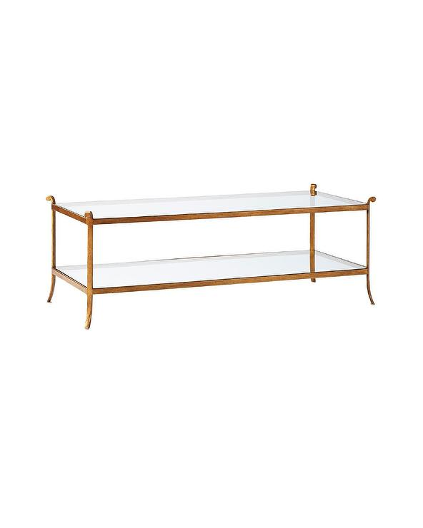 Rectangular Glass Coffee Table: Horchow Rectangular Brass Glass Coffee Table