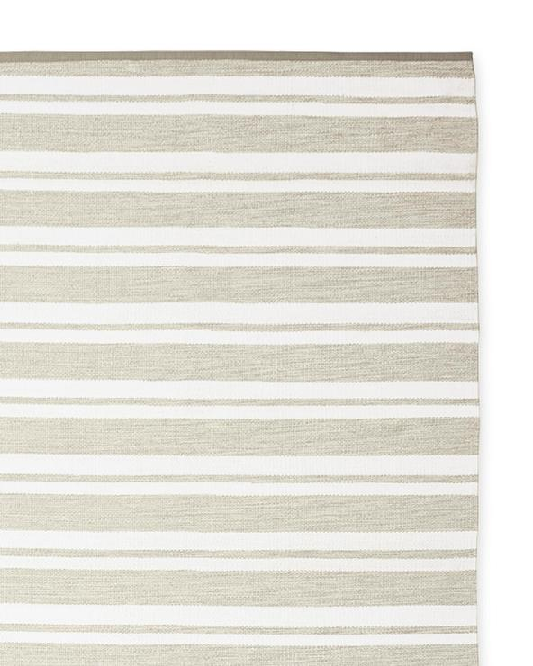 White Striped Woven Outdoor Rug