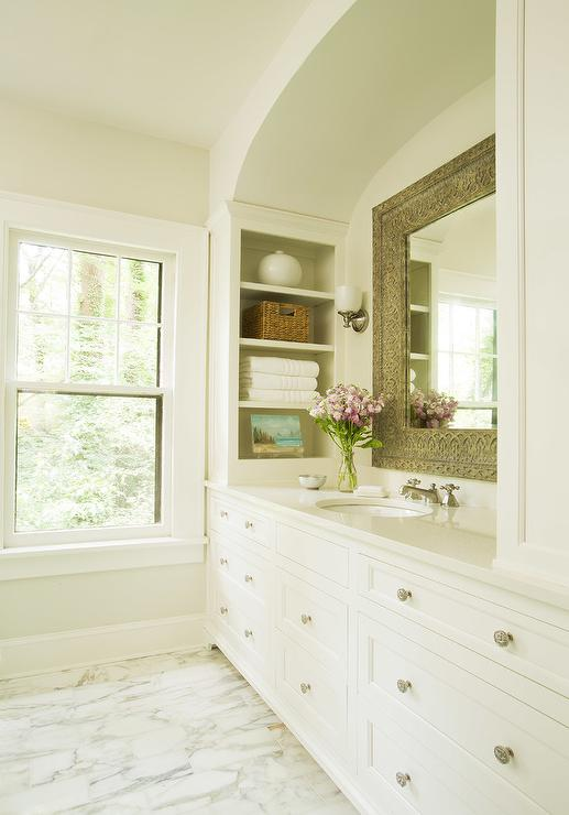 White And Black Bathroom With Alcove Shelves