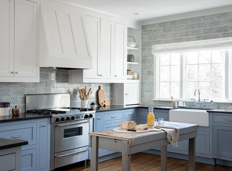 White And Blue Kitchen With Freestanding Rustic Gray Island