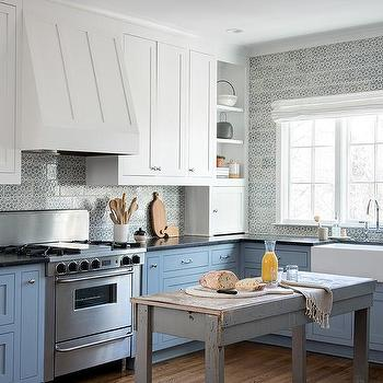 White Upper Cabinets And Blue Lower Cabinets Design Ideas