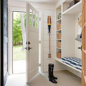 Blue Mudroom With Blue Beadboard Trim And Studio Four Nyc