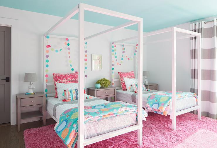 Girls Room with White Walls and Blue Ceiling - Transitional ...