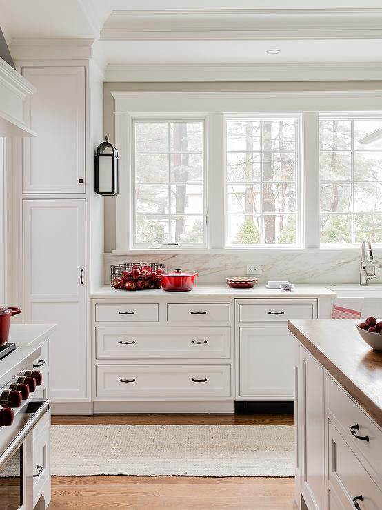 White Kitchen With Red Accents Transitional