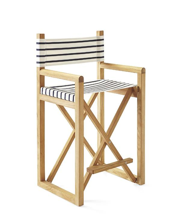 Navy And White Stripe Directors Counter Stool