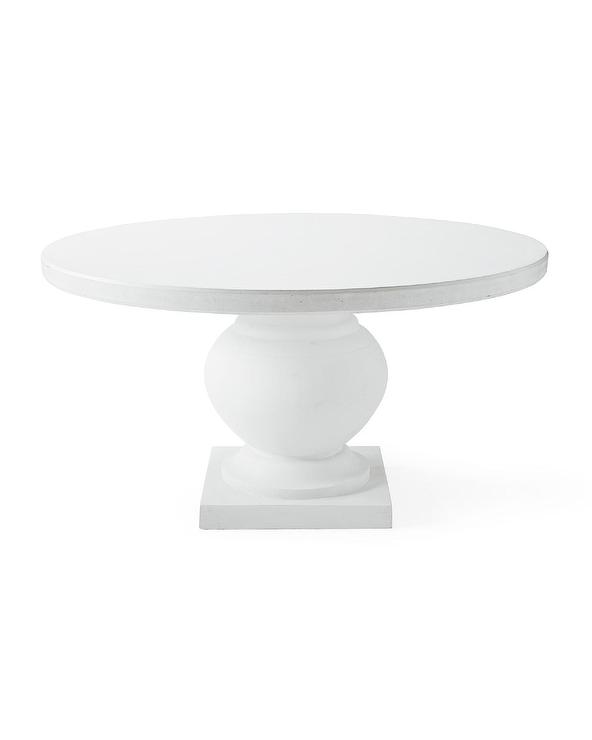 Terrace Round White Wood Pedestal, Round White Dining Table With Pedestal Base