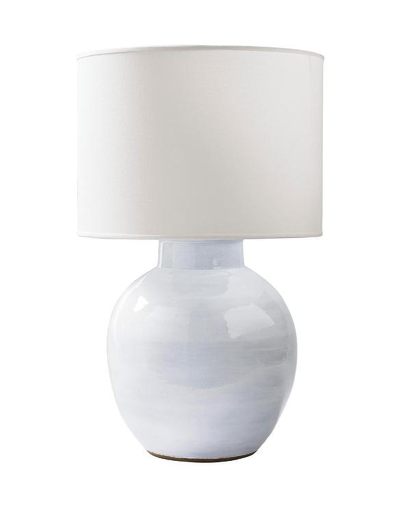 Morris Round White Terracotta Clay Table Lamp