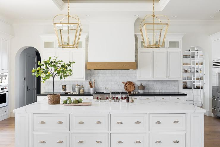 Expansive Kitchen Island With Apothecary Style Drawers