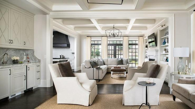 Living Room Coffered Ceiling Design Ideas
