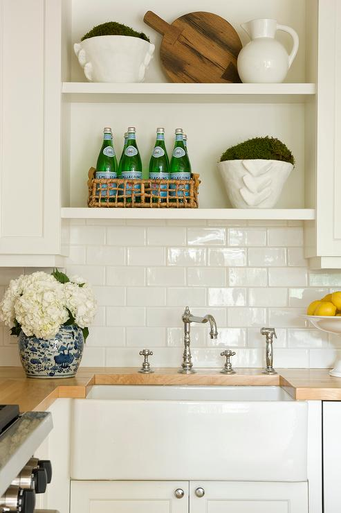 Wood Countertops And Farm Sink In Small Cottage Kitchen Cottage Kitchen